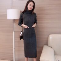 Ladies Cable Knit Jumper Sweaters Dress Retro Slim Turtle Neck Pullover Knitwear