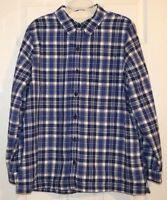 New LL Bean Fleece Lined Flannel Shirt Plaid Misses Blue Azurite Womens Large