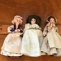 Vintage to Now Lot of 3 Paper Mache Pioneer Woman Painted Face & Porcelain Head