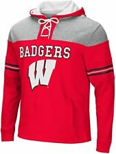 Wisconsin Badgers Adult Ice Hockey Pullover Hoodie Laces NWT