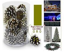 BOX N.20 PIGNE PVC COLOR NATURALI + GLITTER ORO DECORO per ALBERO NATALE PF0603