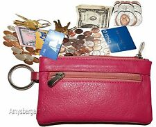 New Leather change purse, Pink Zip coin wallet, 2 pocket coin case w/key ring BN