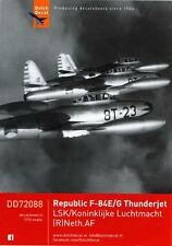 Dutch Decals 1/72 REPUBLIC F-84 THUNDERJET Dutch Air Force Service