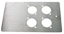 4 XLR HOLE  DOUBLE GANG WALL SOCKET FACE PLATE IN  BRUSHED GRAINED STAINLESS