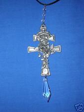 Huge Usa Cast Pewter Cross w Rose Vine Wrapped w Dangling Austrian Crystal