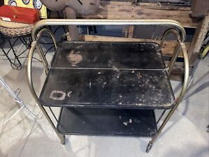 Vintage Metal Kitchen Cart, Versa-Table, Folding Shelves, Black & Gold