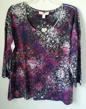 NWT Womens Laura Ashley Embellished Sublimation Top Sz L Purple Blue White Pink