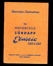 1954 ZUNDAPP ELASTIC 200 & 250  MOTORCYCLE OPERATION INSTRUCTIONS MANUAL