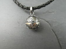 Balinese Harmony Ball pendant genuine 925 silver 14mm Silver/grey  with cord