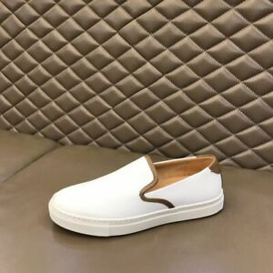 Men's Genuine Leather Slip On Loafers Shoes Spring Casual Strretwear Shoes White