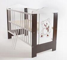 Babybett Kinderbett Bär 120x60 Matratze Holz Wenge Neu