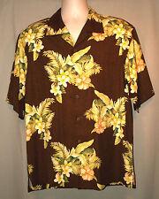 Tommy Bahama 100% Silk Sunset Bloom on Kona Brown Hawaiian Shirt SZ L