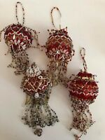 Vintage Lot of 4 Red Beaded Sequin Dangling Christmas Tree Ball Ornaments