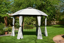3.5m Large Garden Gazebo Hexagonal Grey Party with 2 sets curtains