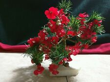 Small Artificial Bonzai Christmas Tree Red Flowers & Bell Marble Base