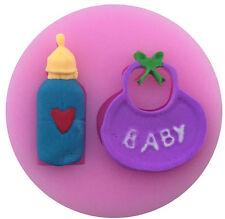 Baby Bottle & Bib 2 Cavity Silicone Mold for Fondant, Gum Paste & Chocolate NEW