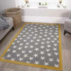 Yellow & Gray Stars Rug | Kids Nursery Room Playmat | Childrens Playroom Mats