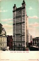 Vintage Postcard - Un-Divided Back Park Row Building New York NY #3397