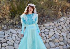 Women Medieval Renaissance Mint Long Dress Costume Sz S Bib