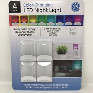 GE Color-Changing LED Night Light 8-Colors 3-Modes Light Sensing Plugin Bed Bath
