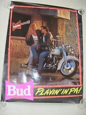 1991 Poster Budweiser Bud Playing In Pa Couple On White Harley Electra Glide