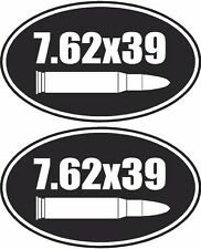 "2 - 3"" 7.62 x 39 mm Ammo Can Decal Oval SET Ammunition Box Gun Sticker AK-47"