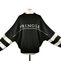 H&M Pringle of Scotland L 14 16 Black White Women's Spell Out Jumper NEW BNWT