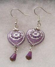 Style Heart Earrings Violet Opal Silver Vintage