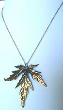 "Vintage Lind Leaf Gold Two Tone 17"" Necklace Nature Jewelry"