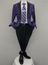 Mens Insomnia ,Manzini Blazer Shiny Paisley Performer Formal Stage MZS227 Purple