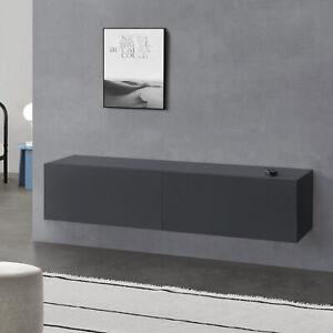 Lowboard Hängeboard mit Schranktüren Fernsehtisch Kommode Ablage Dunkelgrau matt