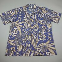 Hilo Hattie Hawaiian Shirt Mens Large Blue Floral Cotton Short Sleeve Aloha VTG