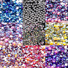 White Clear AB Rhinestones Flat Back Glue On Non Hotfix Crystal Nail Art Stones