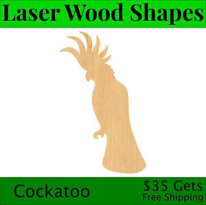 Cockatoo Laser Cut Out Wood Shape Craft Supply - Woodcraft Cutout