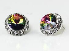 "Dark Mystic Rainbow Vitrail Austrian Crystal Silver Rhodium Post Earrings 1/2"""