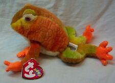 """Ty Beanie Baby 2000 Prince The Orange Colorful Frog 8"""" Stuffed Animal Toy New"""