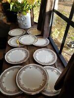 """2 Pair of Lenox Lace Point Silver Platinum Rim SALAD PLATES 8"""" / 2 plates Left"""