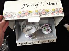 BOXED GILDED ROYAL ALBERT FLOWERS MONTH CHINA SAUCER & CUP FEBRUARY + MARCH POSY