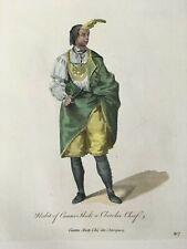 1772 Cherokee Chief NATIVE AMERICAN Hand Colored Print by Thomas Jefferys