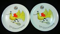 Lot of 2 New York Badminton Club 75th Anniversary Carol Janeway Collector Plate