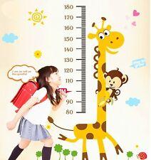 Giraffe Monkey Wall Sticker Height Chart Decal Baby Nursery Home Art Decor