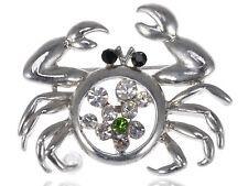 Funnyskan Pincer Crab Pin Brooch Gift Shiny Silver Tone Alloy Crystal Rhinestone
