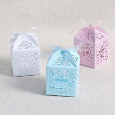 48x Cross Laser Cut Candy Gift Boxes w/ Ribbon Wedding Party Favor Baby Show bag