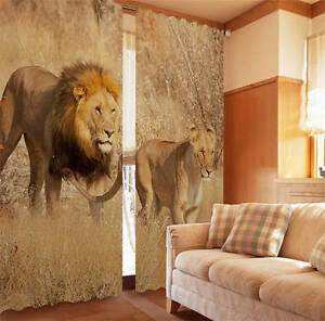 Two Lions Love Autumn 3D Blockout Photo Printing Curtains Draps Fabric Window