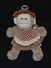 Peluche doudou singe GIPSY brun marron beige robe chapeau 22 cm Etat NEUF