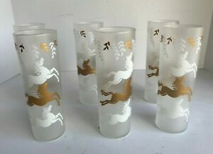 Vintage LIBBY 6 Gold and White Frosted Drinking  Glasses with Leaping Horses
