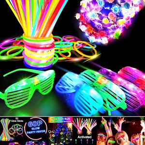iGeekid 60 PCS Glow in The Dark Party Supplies Glow Sticks Bulk LED Party Fav...