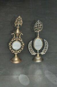 2 Pc Old Brass Handcrafted Jali Cut Design Lid Black Eye Powder Bottles
