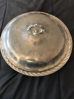 VINTAGE WM ROGERS & SON FLOWERS SILVERPLATED BOWL DISH WITH LID -FOOTED #2062