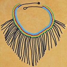 Handmade South American Ceremony Necklace W Glass Seed Beads, Colombian Beadwork